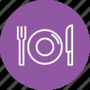 dish, food, fork, hotel, knife, plate, restaurant