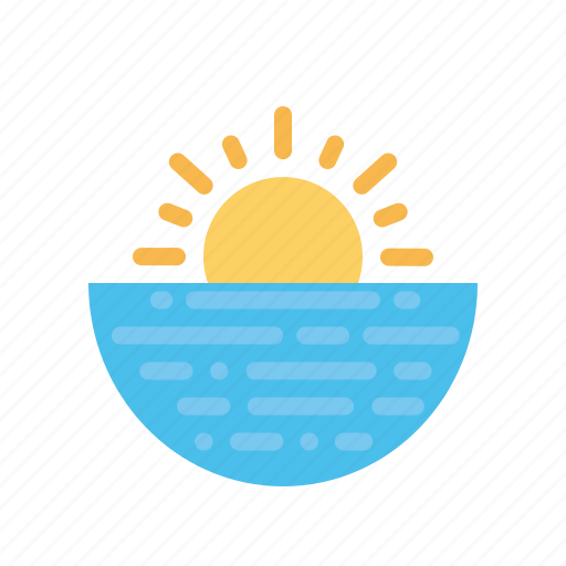 holiday, hotel, restaurant, sea, sunset, vacation, view icon