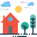 building, estate, garden, home, house, place, tree icon
