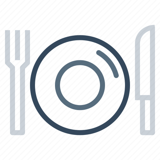 dish, food, fork, hotel, knife, plate, restaurant icon