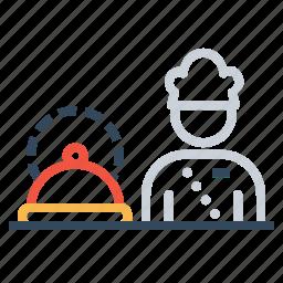 chef, cook, food, hotel, platter, restaurant, serve icon