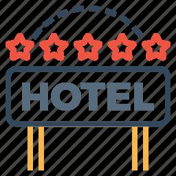 building, five, hotel, lodge, luxury, ranking, star icon