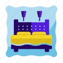 bed, double, furniture, hotel, house, interior icon, travel icon