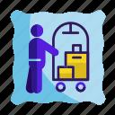 bag, bellboy, hotel, porter, service, suitcase icon, travel icon