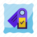 booking, hotel, key, label, service, travel, trip icon icon