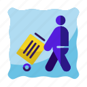 cleaning, man, service, trash, worker icon icon