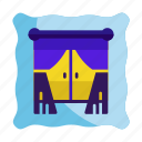 apartment, curtains, home, hotel, interior, view, window icon icon