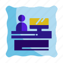 customer, hotel, reception, receptionist, service icon, travel icon