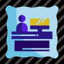 customer, hotel, reception, receptionist, service icon, travel