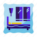 bed, bedroom, hotel, motel room icon, travel icon