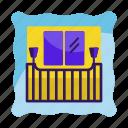 apartement, balcony, door, hotel, house, railing, terrace icon icon