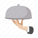 cartoon, cloche, cover, hand, restaurant, tray, waiter icon