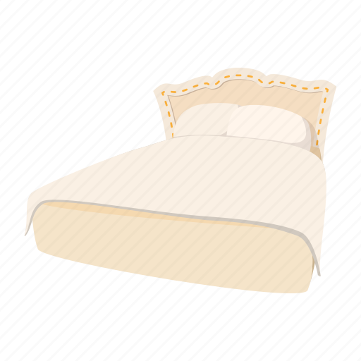 bed, blanket, cartoon, double, home, luxury, pillow icon