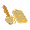cartoon, hotel, key, lock, metal, number, room icon
