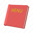card, cartoon, decoration, food, menu, red, restaurant icon