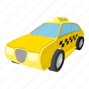 cab, car, cartoon, taxi, traffic, travel, yellow icon