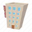 building, cartoon, hostel, hotel, shop, street, travel icon