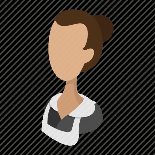 avatar, badge, business, cartoon, governess, housemaid, waitress icon