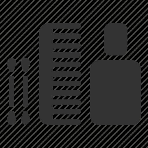 comb, cottonbud, hotel, shampoo, soap, tester, toiletries icon