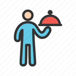 butler, catering, food, restaurant, service, tray, waiter icon