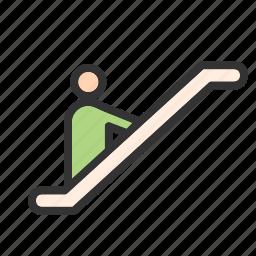 building, escalator, escalators, mall, shopping, staircase, up icon