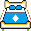 bed, bedroom, double, furniture, interior, night, sleep icon