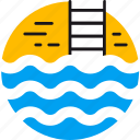 ladder, pool, relax, swim, swimming pool, water, waves icon