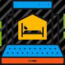 accomodation, choose, internet, laptop, online, reservation, room icon