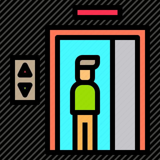 elevator, hotel, person, service, staff, travel, work icon