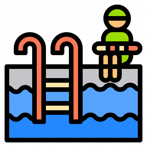 hotel, person, pool, service, swimming, travel, work icon