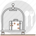 cart, hostel, hotel, luggage, resort, room, services icon