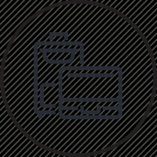 concierge, hotel, line, luggage, services, storage icon