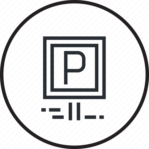 free, garage, hotel, line, parking, services icon