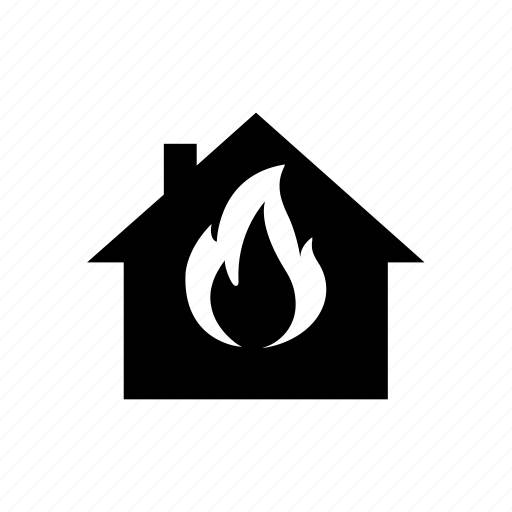 fire, flame, heating, house icon