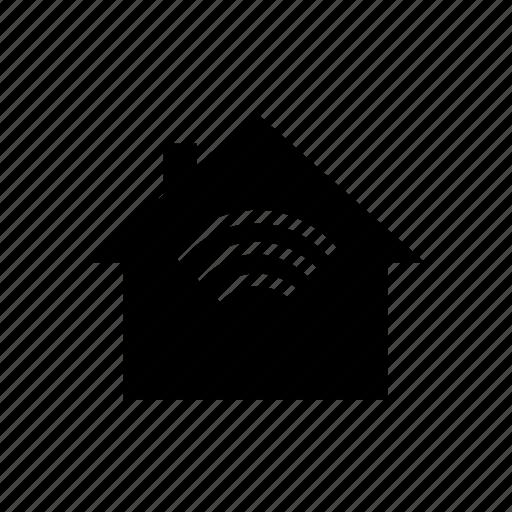 alarm, house, radio waves, sensor, signal, wifi icon