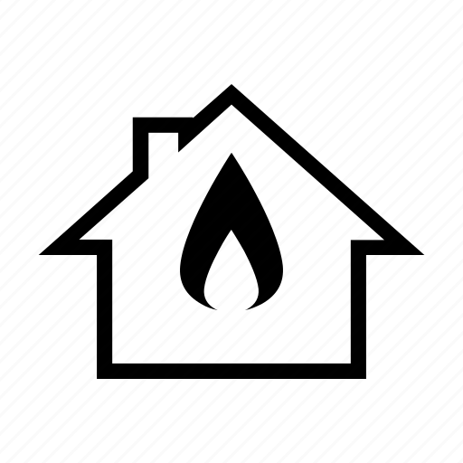 flame, gas, heating, house icon