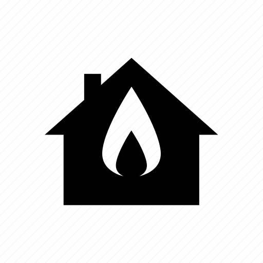 burning, energy, fire, flame, gas, heating, house icon