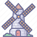 building, mill, village, windmill icon