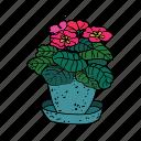 blossom, gardening, green, hobby, home, plant, violet icon