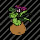 clay, flower, nature, plant, planting, pot, violet icon