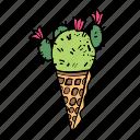 cacti, cactus, cone, flower, ice cream, plant, succulent icon