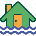 flood, flooding, home, house, insurance, inundation, water icon