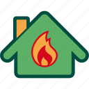 burn, fire, home, house, insurance, property icon