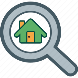 find, home, house, magnifier, seek icon