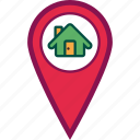 address, home, location, map, pin icon