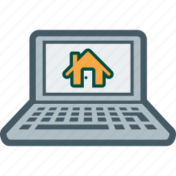 estate, home, house, laptop, real, rent, web icon