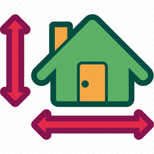 dimensions, home, house, measurement, property icon