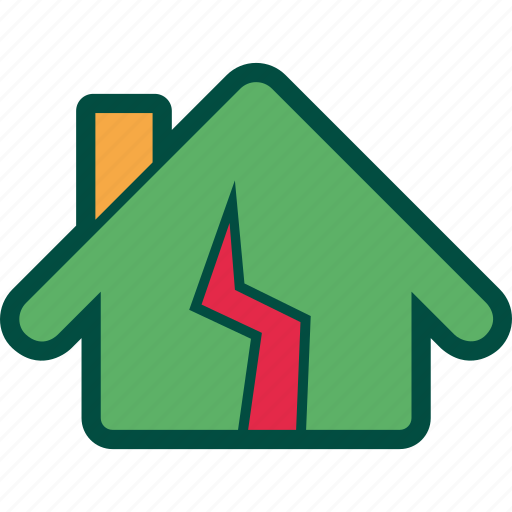 Broken, damage, earthquake, home, house, repair icon - Download on Iconfinder