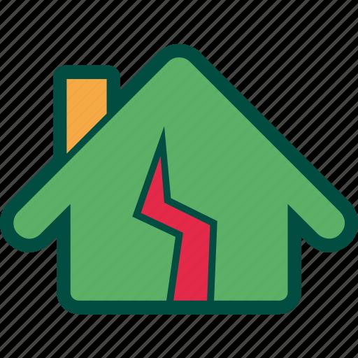 broken, damage, earthquake, home, house, repair icon