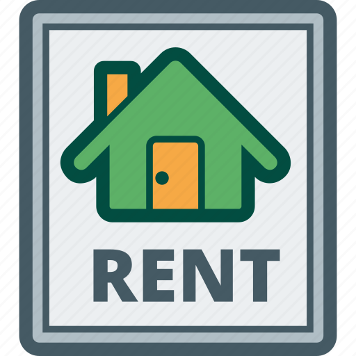 estate, house, real, rent, rental, sign icon